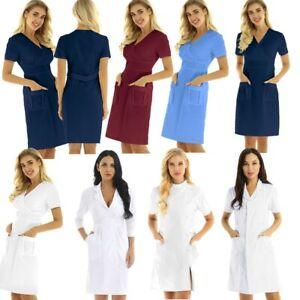 Women Lady Nurse Coat Hospital Medical Laboratory Coat Jacket Work Uniform Dress