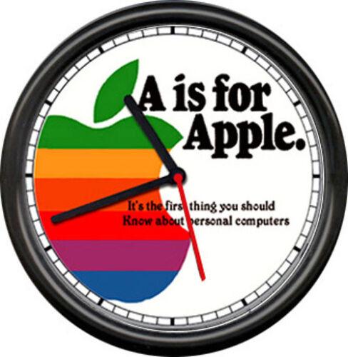 Apple Computer Dealer Sales Service Original Retro Vintage Art Sign Wall Clock