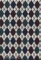 Rustic Checker Diamond Plaid Blue Burgundy Sportsman Lodge Double Roll Wallpaper