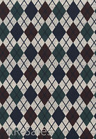 Rustic Checker Diamond Plaid Blue Burgundy Sportsman Lodge Double Roll Wallpaper