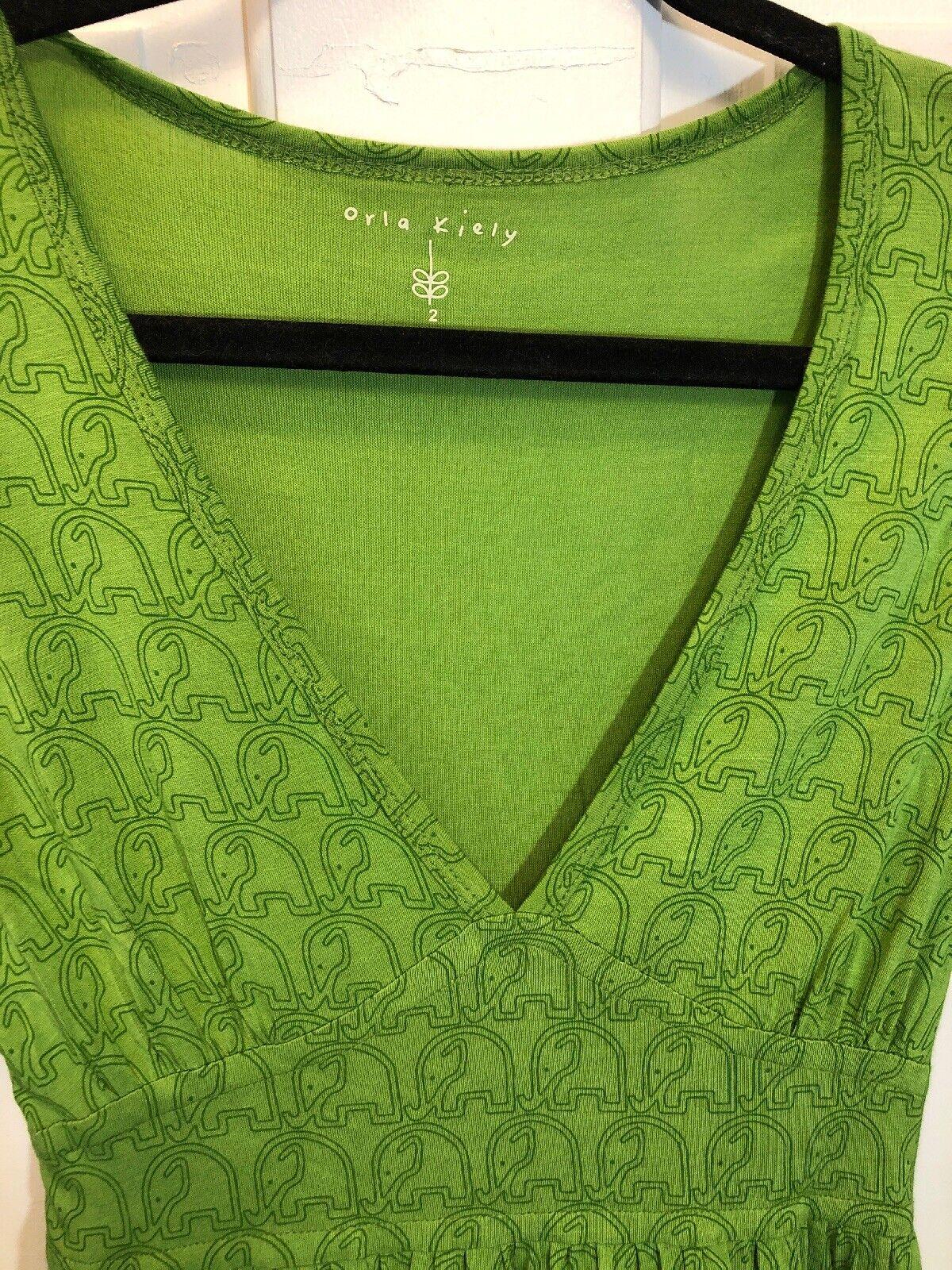 34. Euc Orla Kiely Rare Kelly Grün Elephant Dress Small