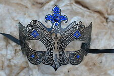 Crown Venetian Styled Black Metal diamonte Masquerade Mask Filigree