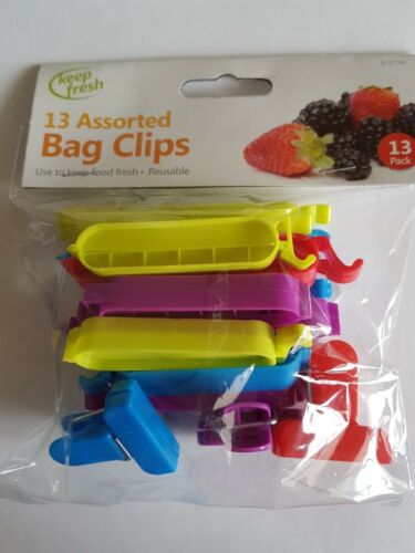 13 X Sac Clips stockage des aliments frigo cuisine Réutilisable d'Étanchéité Suspension Plastique Tie