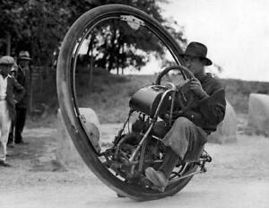 """1931 One Wheel Motorcycle Cool Transportation Old Photo 8.5"""" x 11"""" Reprint"""