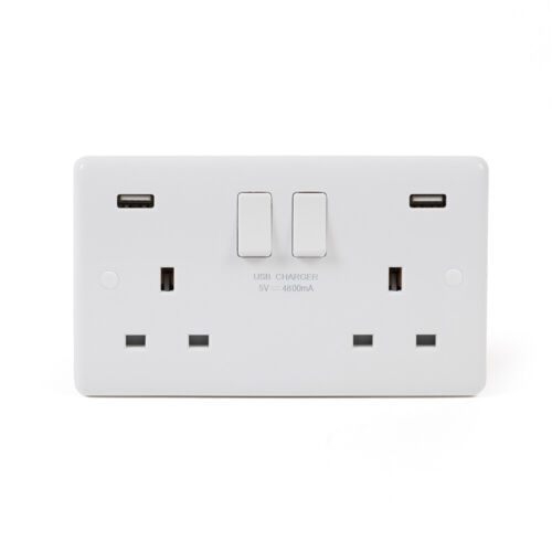 Lieber Blanc 13 A 2 Gang DP rapide charge 4.8 A Prise Avec USBdouble USB Socket