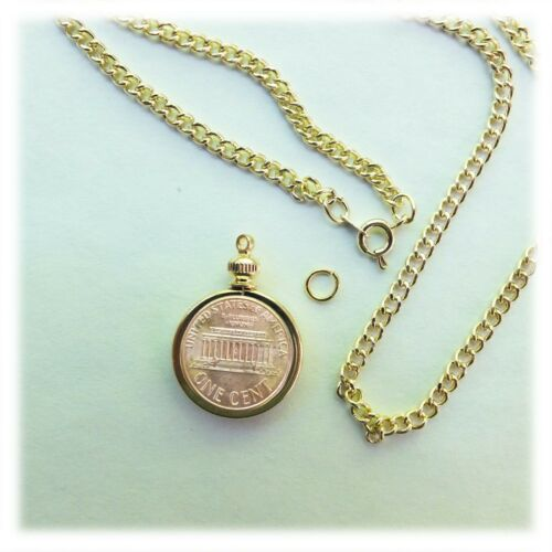 "Coin Holder Bezel Penny USA 1 Cent Gold Plated Link Necklace 20/"" Chain Kit Parts"