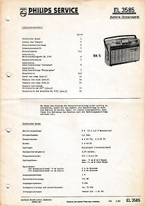 Service Manual-anleitung Für Philips El 3585,rk 5 Anleitungen & Schaltbilder