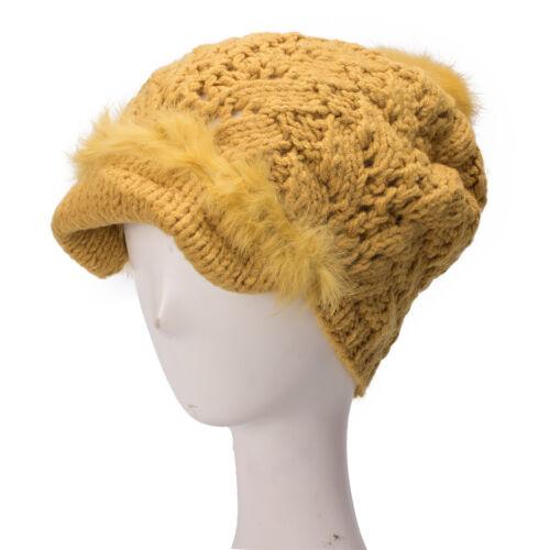 Womens Cotton Fur Knit Beanie Beret Winter Ski Top Winter Cloche Hat A293
