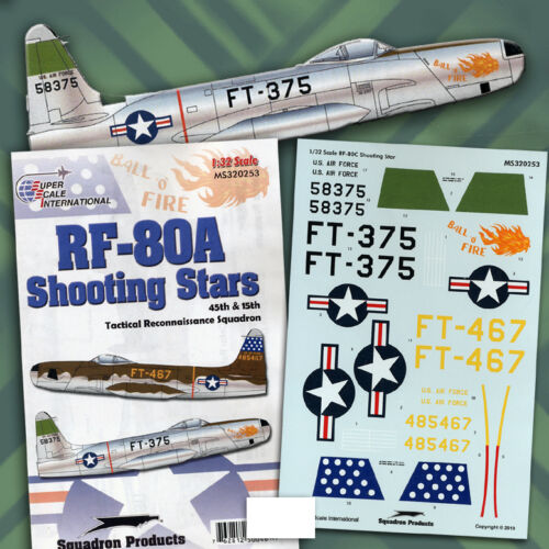 RF-80A F-80 1//32 decals, Superscale 320253 Shooting Stars of 45th Tac Recon