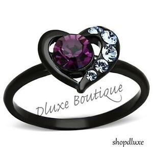 Women-039-s-Round-Cut-Amethyst-CZ-Black-Stainless-Steel-Heart-Fashion-Ring-Size-5-11