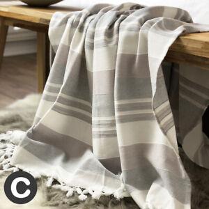 Luxury-Striped-100-Cotton-Handmade-Chair-Sofa-Blanket-Throw-Ivory-Grey-Fringed