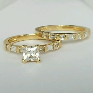 14k-Yellow-Gold-solitare-square-Princess-Cut-Engagement-Wedding-Band-Ring-Set-s6