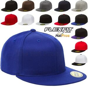 6210-T-New-Flexfit-Premium-Flatbill-Fiited-Baseball-Cap-210-Flat-Bill-Black-Hat
