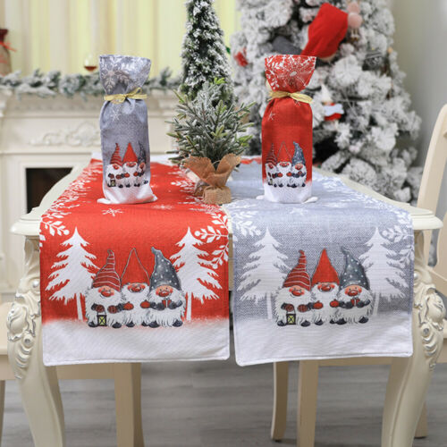 New Christmas Table Runner Placemat Xmas Desk Tablecloth Cover Party Home Decor