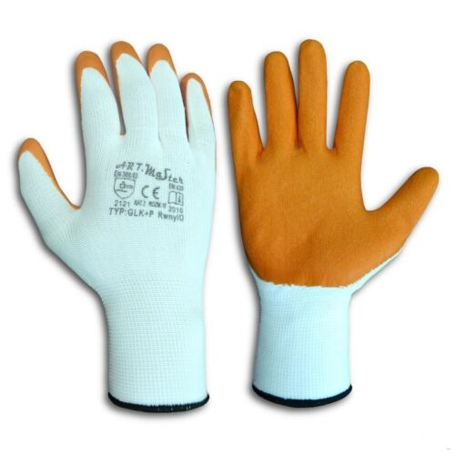LATEX COATED RUBBER WORK GLOVES SAFE BUILDER GRIP ORANGE 120 240 360 480 PAIRS