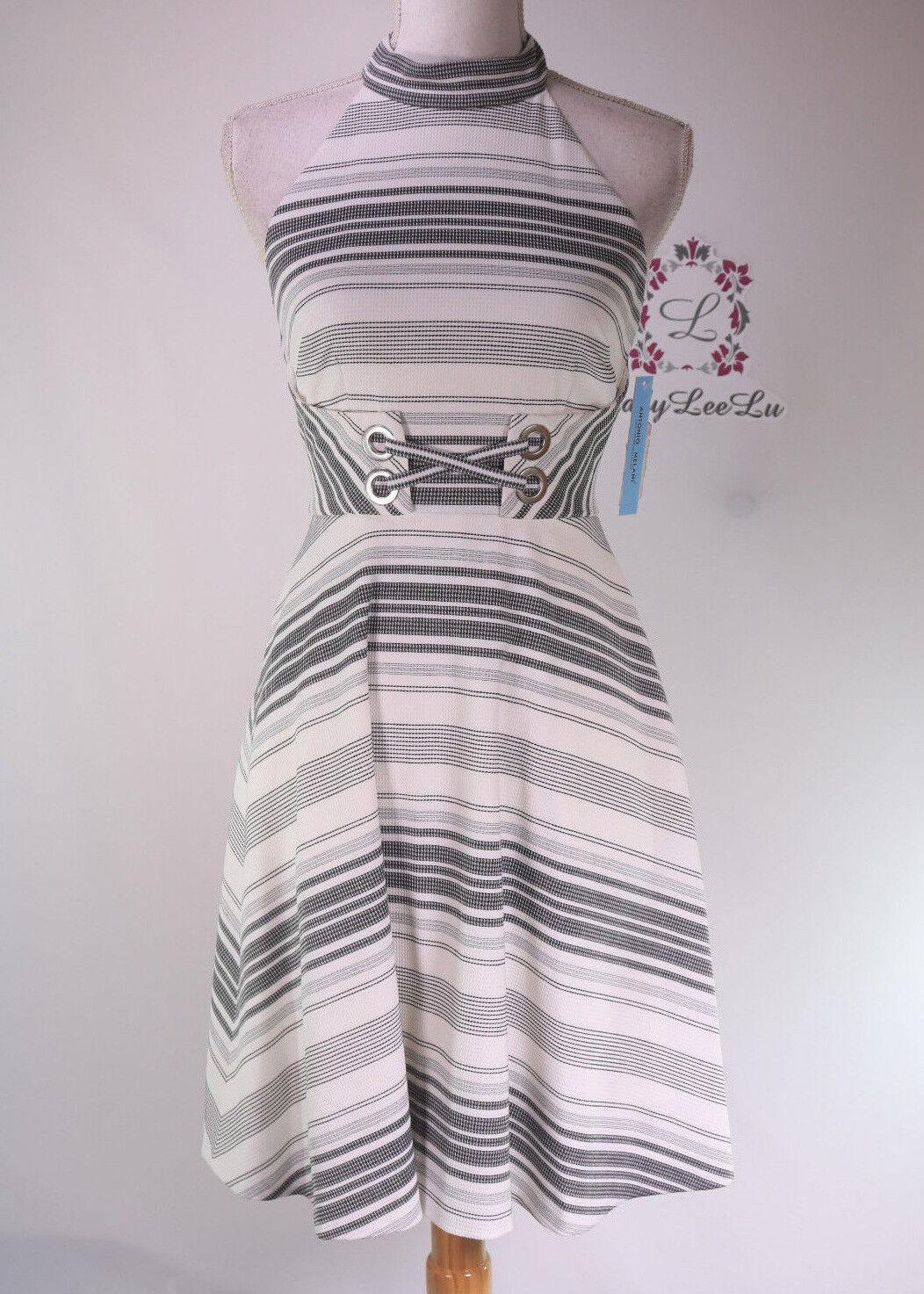Antonio Melani Chapman Halter Neck Sleeveless Stripe Pique Dress Größe 0 2 6 8 10