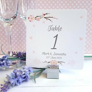 Personalised-WEDDING-Table-Number-Names-Cherry-Blossom-amp-Pink-Hearts-Theme