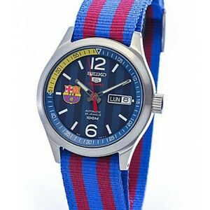 Seiko-5-Sports-FC-Barcelona-100M-Blue-Dial-Men-039-s-Watch-Nylon-Strap