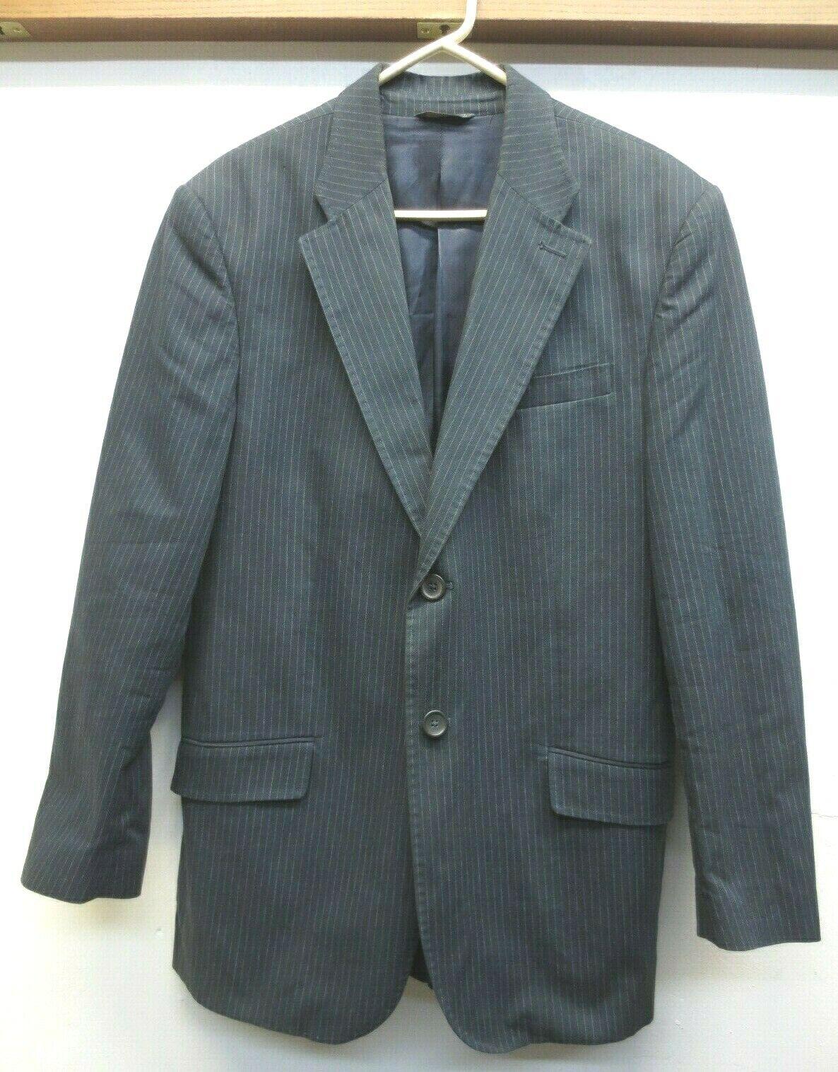 EUC Banana Republic Navy Pinstripe Cotton Linen Blend 2 Button Sport Coat Sz 42R
