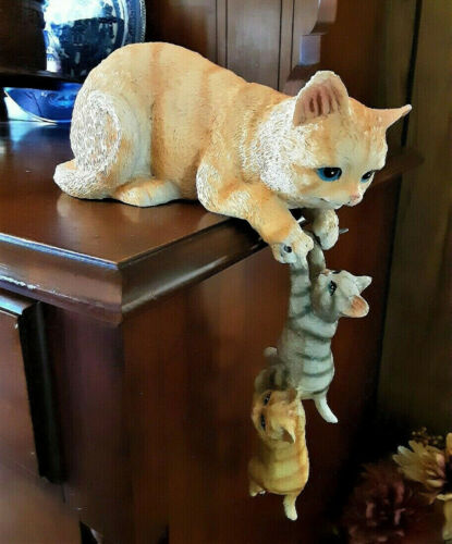 Mother Cat and Dangling Kittens Hanging Figurine Shelf Sitters 2pc Set