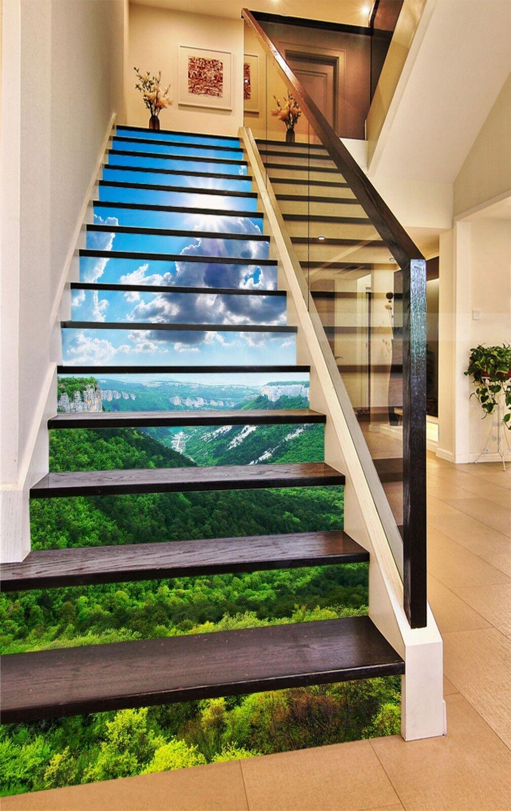 3D Hills Arbre Vert contremarches Décoration Photo Murale Autocollant Vinyle Papier Peint UK