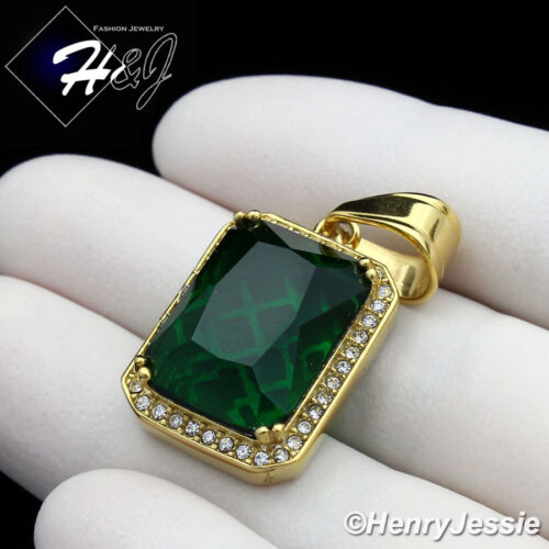 MEN's Stainless Steel ICED OUT BLING CZ Green Gemstone Gold Charm Pendant*GP98