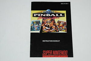 Super Pinball Behind the Mask Super Nintendo SNES Video Game Manual Only