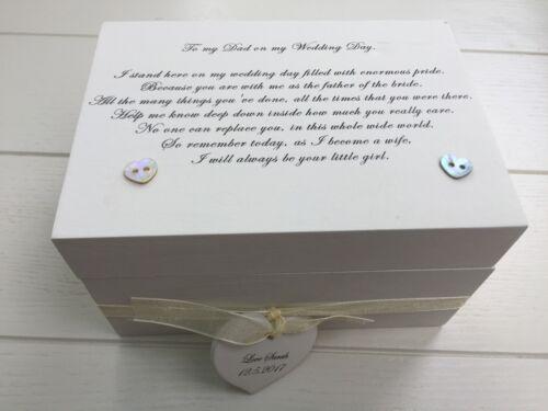 Shabby Personalised Chic Gift Box Father Of The Bride Wedding Day Keepsake Box