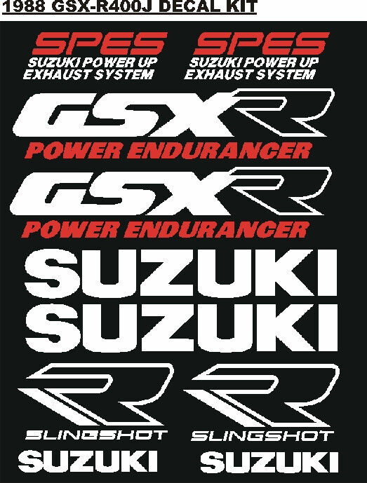 Decal sticker kit for a 1988  GSX 400J motorcycle