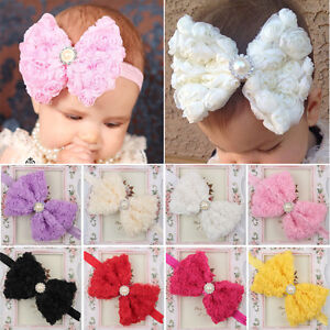 Baby-Girl-Large-Bow-Headband-Kids-Lace-Flower-Hair-Band-Head-Wrap-Festival-Gift