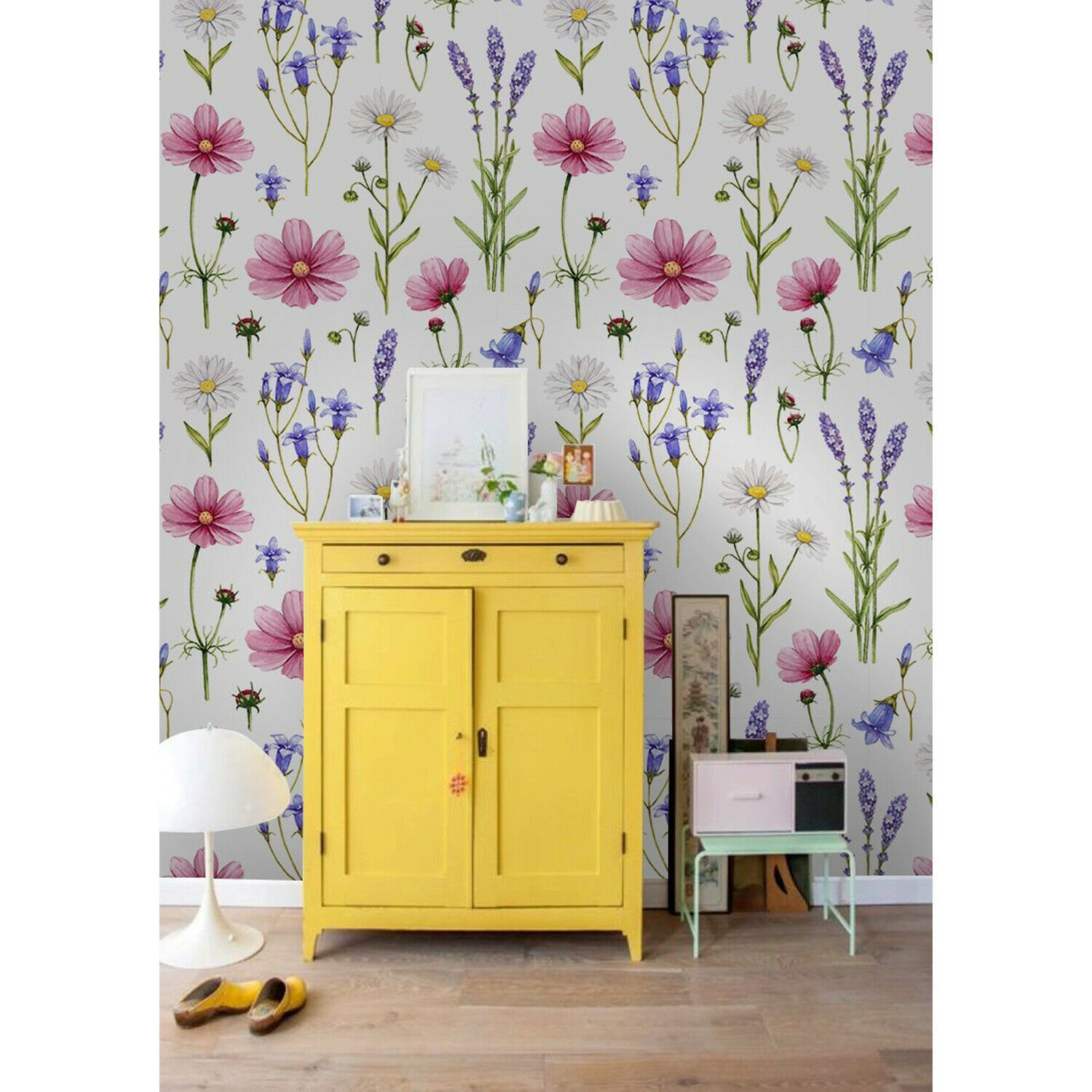 Wildflowers self-adhesive colorful pink and purple wall mural wall covering