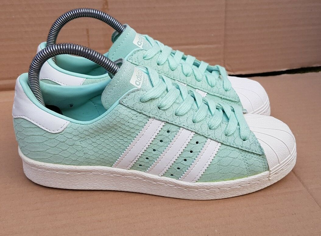 ADIDAS SUPERSTAR 80's TRAINERS SIZE 4RARE MINT GREEN REPTILE SKIN IMMACULATE