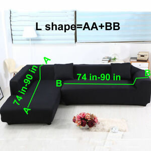 Swell Details About L Shape Sofa Covers 2Pcs Polyester Stretch Slipcovers For Sectional Sofa Black Uwap Interior Chair Design Uwaporg