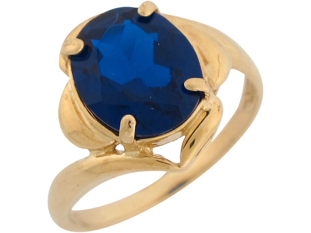 10k or 14k Yellow gold Simulated bluee Sapphire Stylish September Birthstone Ring