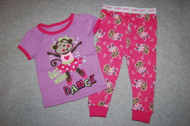 7ea558a92584 Baby Girls Pajama Set Monkey Ballerina Just Wanna Dance Pink Purple ...