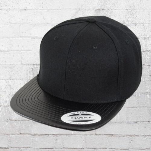 Yupoong Cap avec cuir synthétique Bouclier Snapback Casquette Noir Casquette Hotte Basecap a