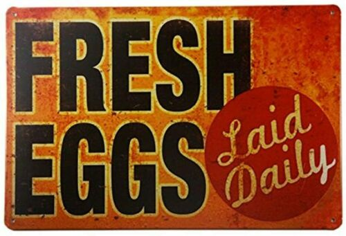 TIN Sign Fresh Eggs LD Metal Decor Art Chicken Coop Kitchen Cottage Farm