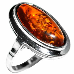 5-31g-Authentic-Baltic-Amber-925-Sterling-Silver-Ring-Jewelry-N-A7456