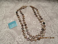 Jay King Mine Finds Petrified Wood 24 Double Strand Necklace Sterling Silver Cl