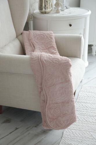 Kuscheldecke Sofadecke Plüschdecke Plaid Überwurf Rosé 140x170 Shabby Chic