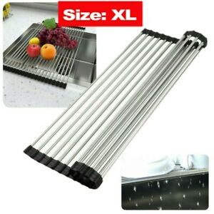 Extra Large Over The Sink Roll Up Dish Drying Rack Pan