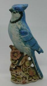 Vintage BLUE JAY FIGURINE Bird Figurine with Flowers Marked J.R.   C1
