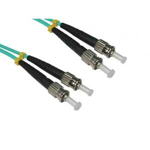 1-M-OM3-Fibre-Optic-Cable-Duplex-Reseau-Patch-plomb-LSZH-ST-a-ST-multi-mode-Aqua