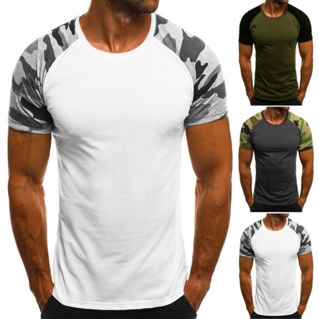 Mens T Shirt Camouflage T Shirt Mens Comfort-Soft Fitness Crew-Neck Camo T-Shirt