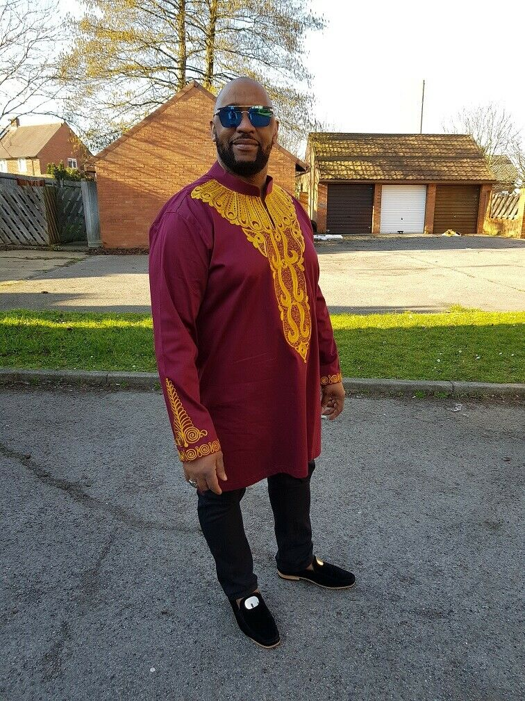 African Men Maroon and gold Embroidery shirt, African Wedding, Traditional event