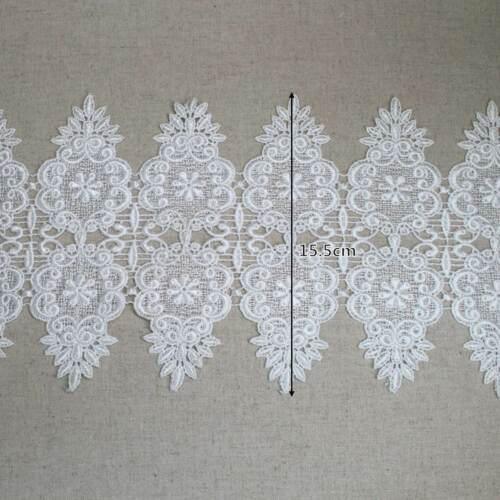 """1yard Embroidery Broderie Anglais guipure lace trim 6.1/"""" sh41 laceking 15.5cm"""