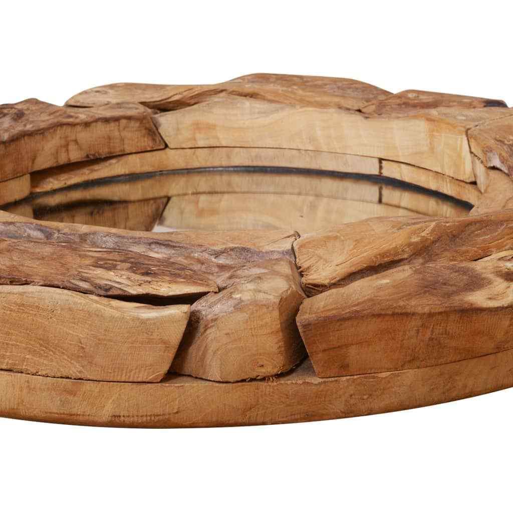 s l1600 - vidaXL Madera de Teca Espejo Redondo Decorativo Rústico Marrón 60 cm/80 cm