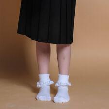 3 6 Paia Bambine Frilly Pizzo Caviglia Scuola Calzini Di Cotone