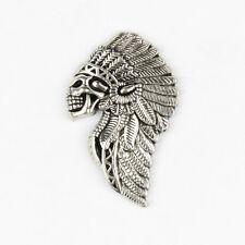 Biker Chopper Chief Indian Skull Indianer Totenkopf Metall Druckknopf Knopf Niet