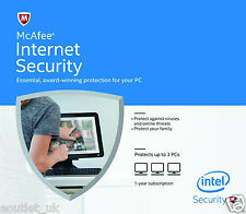 McAfee Internet Security 2017 Anti Virus Software 1 Year Licence 3 Users/PC NEW